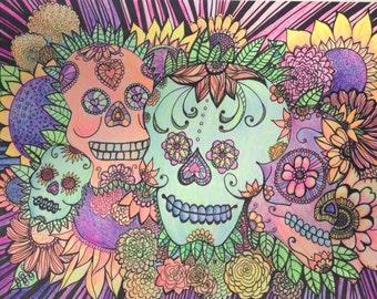 Psychedelic Sugar Skulls Doodle Black Light Reactive Dia de los Muertos Calaveras Original Illustration 11x15 by Candace Byington