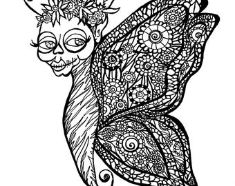 Calavera Butterfly Adult Coloring Page Clip Art Original Illustration Day of the Dead Unique 8x8 300 dpi jpg Drawing by Candace Byington