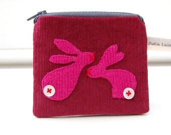 Rabbit Coin Purse Burgundy and Hot Pink Needlecord Fabric