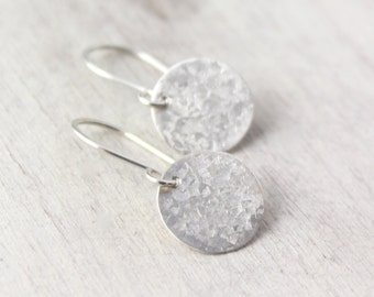 Raw Silk Textured Silver Disc Earrings
