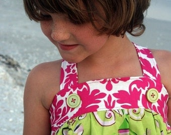 SALE STORE CLOSING Little Girls Pink Damask Sundress -  - Ready to Ship
