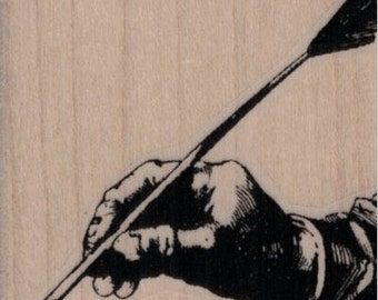 rubber stamp hand holding quill pen   rubber stamp    no19930