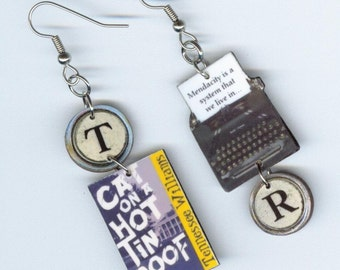 Book Cover Earrings - Cat on a Hot Tin Roof - typewriter key - book club bookish readers librarians teachers gift - literary jewelry