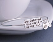 She Believed She Could So She Did Bracelet, Graduation Jewelry, Inspirational Bangle Bracelet