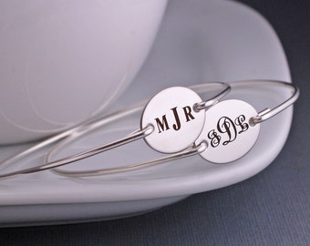Monogram Bracelet, Silver Monogrammed Jewelry,  Personalized Bridesmaid Gift Bangle Bracelet, Wedding Jewelry