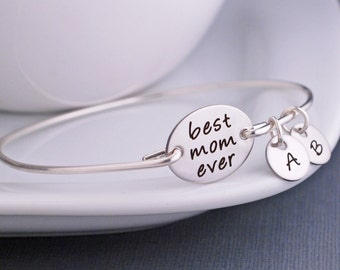 Gift for Mother, Best Mom Ever Gift, Christmas Gift From Kids, Custom Bangle Bracelet, Silver Mother's Bracelet for Wife