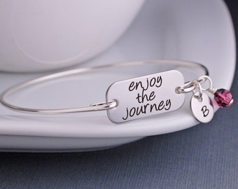 Enjoy the Journey Bangle Bracelet, Graduation Gift, Inspirational Jewelry, Om Inspirational Graduation Jewelry Gift Sterling Silver