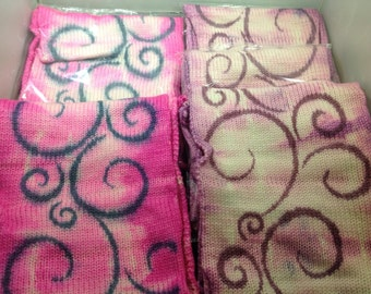 Hand Painted Sock Blank: berry swirls & hot pink gears or swirls