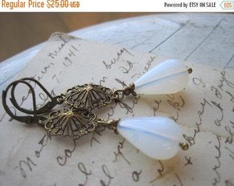 SALE victorian style earrings, assemblage earrings, assemblage wedding earrings, neutral earrings, opal earrings.