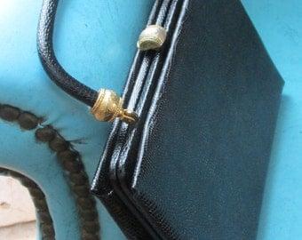 Vintage Black Faux Lizard Handbag Ornate Clasp Frame Detail After Five 50s Bag Mid Century  USA
