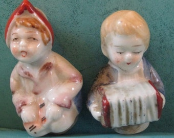 Vintage Dutch Boy & Girl Salt Pepper Shakers Missing Bench Replacement Parts 40s 50s