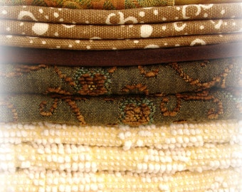 decorator fabric scrap pack . 8 assorted lovely fabrics vintage and new shades of gold and brown assorted sizes