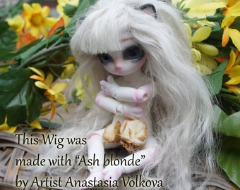 Tibetan Lamb Hair - Ash Blonde- S piece ABL - For Art Dolls OOAK