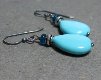 Turquoise Earrings Apatite Earrings Aqua Blue Gemstone Earrings December Birthstone Earrings Oxidized Sterling Silver Earrings