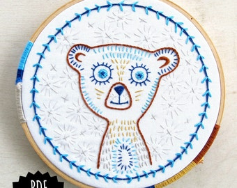 BLINKY BEAR pdf embroidery pattern, sweet bear face, blue and brown tribal bear, embroidery hoop art, by cozyblue on etsy