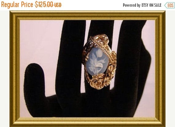 SRAJD End of Summer Sale Rolled Gold Blue Rose Cameo Ring
