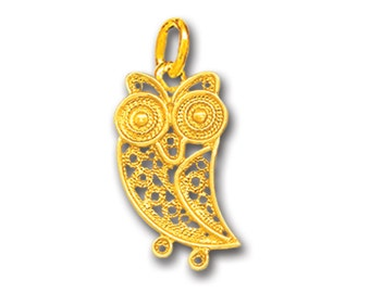 Wise Little Owl ~ 14K Solid Gold Filigree Pendant - A/Small