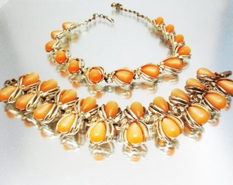 Moonglow Thermoplastic Necklace Bracelet Unused Soft Orange Teardrops