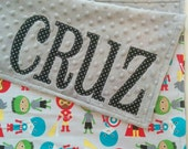 BABY/TODDLER size SewSara Name Blanket- personalized minky blanket - ann kelle superkids