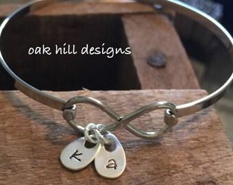Infinity bangle bracelet-personalized bracelet-hand stamped jewelry-bangle bracelet personalized-initial bracelet