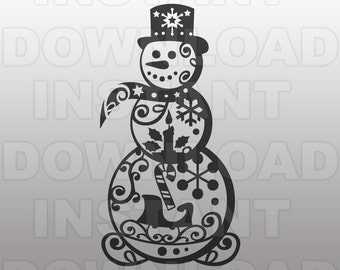 Snowman Filigree SVG File - Swirly Snowman SVG File -Commercial & Personal Use- vector file for Cricut,svg file for Silhouette,vinyl cutter