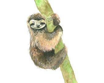 Sloth - Print of an Original Gouache Painting