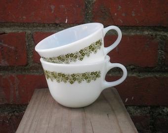 Vintage Pyrex Spring Blossom / Crazy Daisy Coffee Mugs / Tea Cups - Set of Two, Circa 1970s - Vintage Milk Glass Retro Flower Mug / Cup Gift