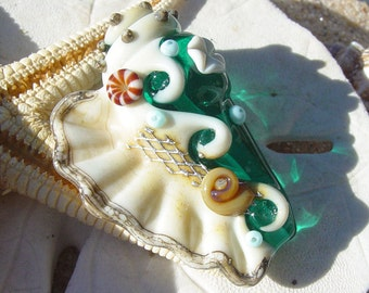 Teal Conch Shell Focal Bead  SRA Handmade Lampwork Bead