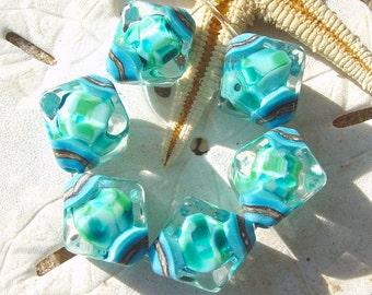 Turquoise Sea - Set of 6 Crystal Bicone Beads - SRA Glass Lampwork
