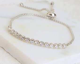 Silver And Crystal Slider Friendship Bracelet