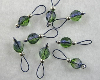 Purple and Green on Plum Purple Wire Stitch Markers - US 5 - Item No. 780