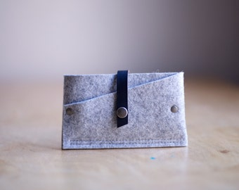 Tiny Clutch iPhone Case, industrial wool felt and leather - Light Gray