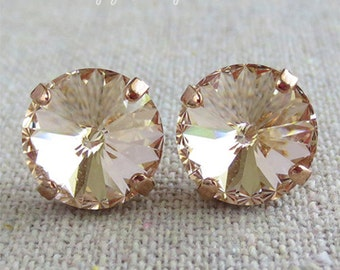 Swarovski Champagne Spike Cut Round Crystal Chaton Rose Gold Post Earrings Wedding Bridal Jewelry Bridesmaid Gifts