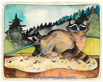 Raccoon Art Print - Art Print - Wall Art - Print of Illustration - Raccoon Illustration - 5x7 Art Print - Animal Art - Two Raccoons