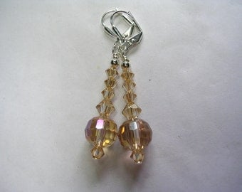 Golden Shadow Swarovski Crystal Earrings Disco Balls Silver Plate Leverback Hooks Wire Wrapped Dangle Earrings Gifts under 5