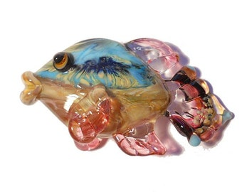 Pink & aqua fish Lampwork glass bead necklace, 'Denali' handmade pendant, Italian glass designer ocean focal bead, SRA art glass, cgge