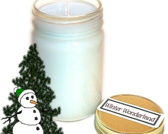 Winter Wonderland Mason Jar Candle Icy Pine Scent 12 Oz Handmade Christmas