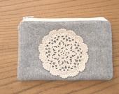 wool + crochet pouch
