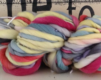 Sail Away    Dyed and Hand Spun Bulky Thick & Thin Yarn blanket baby hat leg warmers photo prop
