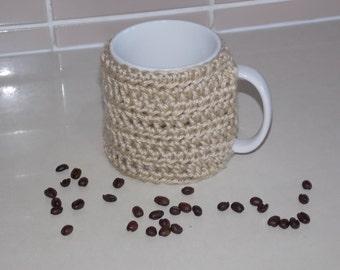 crocheted coffee cuff mug cup cozy cover camel beige tan oatmeal