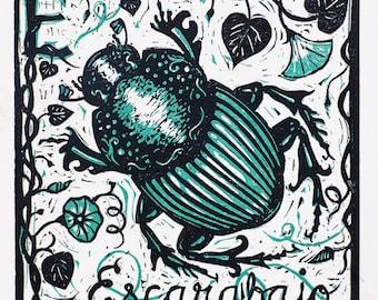 E for Escarabajo - beetle linocut