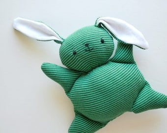 Green Stripey Mooshy Belly Bunny