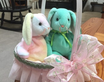 Two vintage Ty easter bunnies in Easter basket