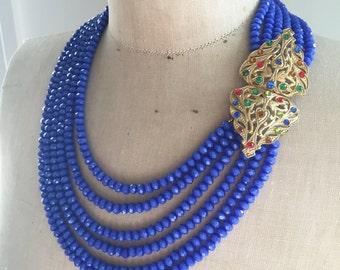 SALE Crystal Necklace, Statement Necklace, Mult Strand Necklace, Rhinestone jewelry,  Vintage Buckle, Blue