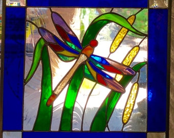 Dragonfly 'n Cattail Pond Stained Glass Window Panel 16x16