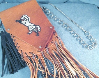 Horse Beaded Cowgirl Hip Belt Brown Live to Ride Leather Fringe Pouch with Horse Beadwork and charm Crossbody bag