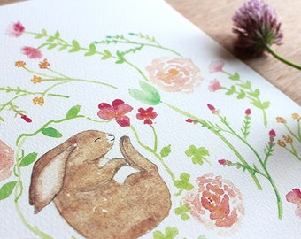PEACE - In The Meadows Series - Watercolor Rabbit Print