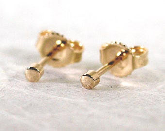 Teeny Tiny Earrings 14k 2mm Gold Stud Earrings 2mm Yellow Gold Studs by Susan SARANTOS
