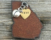 GEORGIA | Rustic 2016 Christmas Ornament | Peach or Bulldog Charms, Handstamped Brass Tag
