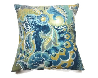 Decorative Pillow Cover Bold  Paisley Design Teal Turquoise Olive White Navy Same Fabric Front/Back Throw Toss Accent 18x18 inch x